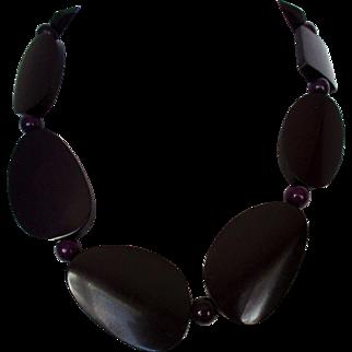 Aubergine Chunky Irregular Shaped Beads Necklace Vintage