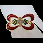 Monet Christmas Bow Red Green Enamel Clear Rhinestones Brooch Vintage