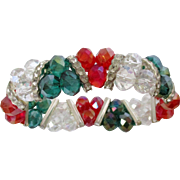 Christmas Red Green Clear Beaded Elasticized Bracelet Vintage