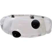 Clear Lucite with Black and White Dots Bangle Vintage