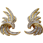 Gold Tone Clear Rhinestones Ciro Clip Back Earrings Vintage