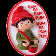 Original Hallmark Little Drummer Boy Plastic Pin Vintage