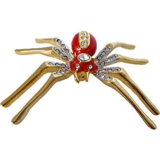 Long Legged Gold Tone Spider with Coral Enamel and Clear Rhinestones Pin Vintage
