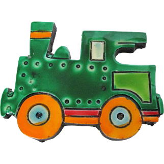 West Germany Toy Caboose Pin Bright Green and Orange Vintage