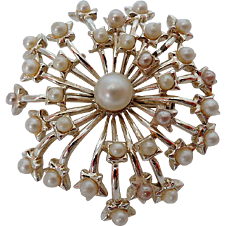 Faux Pearl Shooting Star Snowflake Brooch on Silver Tone Vintage