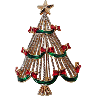 Christmas Tree with Green and Red Enamel Brooch Vintage