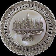 Silver Tone Circular MOP Menorah Pin Pendant Vintage
