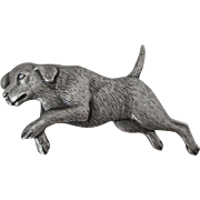 JJ Pewter Running Dog Brooch Vintage