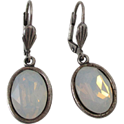 Faceted Opalescent Glass Oval Dangle Lever Back Earrings Vintage