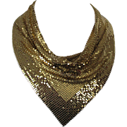 Whiting and Davis Gold Tone Mesh Cowl Neck Necklace Vintage