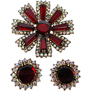 Hollycraft Ruby Red AB Rhinestones Brooch and Earring Set Vintage