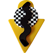 Geometric Yellow Black White Plastic Pin Vintage