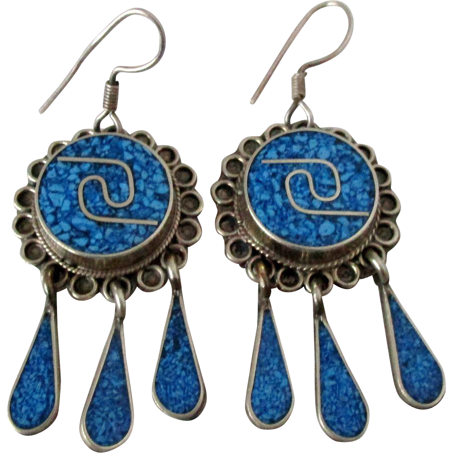 alpaca mexico earrings alpaca mexico crushed turquoise dangle earrings vintage 2022