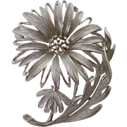 Lisner Silver Tone Sunflower Brooch Vintage
