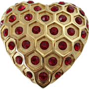 Honeycomb Design with Ruby Red Rhinestones Heart Brooch Vintage