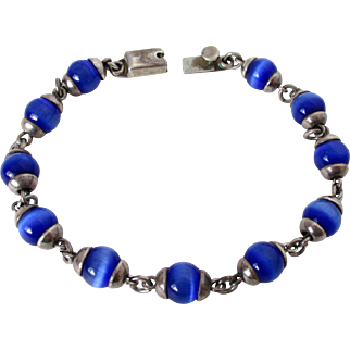 Royal Blue Cats Eye Glass Mexican Silver Marked Bracelet Vintage
