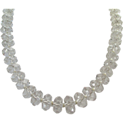 Clear Quartz Crystal One Strand Hand Knotted Choker Length Necklace Vintage