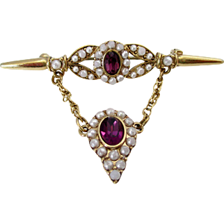 White Seed Beads and Amethyst Colored Rhinestone Drop Brooch Vintage