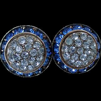Lisner Blue Rhinestone Clip On Earrings Vintage