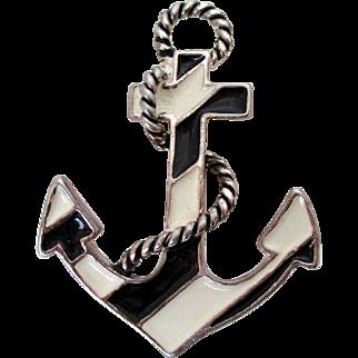 Anchor and Rope Black White Enamel Pendant Vintage