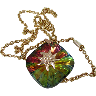 Germany Glass with Foiled Back and Edelweiss Flower Necklace Vintage