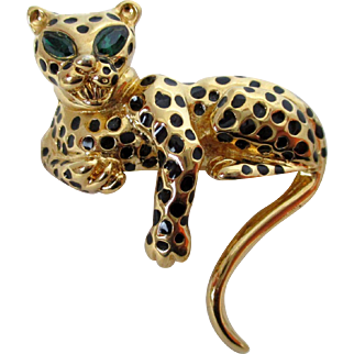 D'Orlan Leopard Cat with Green Eyes Brooch Vintage