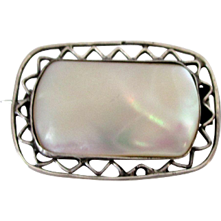 Antique Mother of Pearl and Silver Tone Brooch England Made