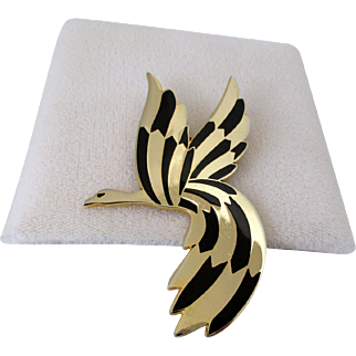Rivest Gold Tone with Black Enamel Bird in Flight Brooch Vintage