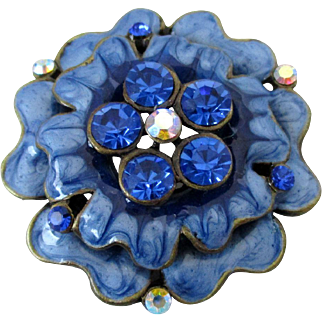 Blue Enamel and Rhinestone Flower Brooch Vintage