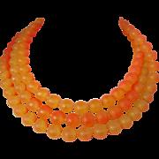Round Plastic Beads of Orange Shades Long Necklace Vintage