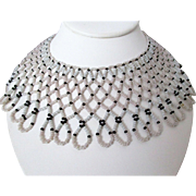 Hong Kong Seed Bead Bib Style Necklace Vintage Needs TLC