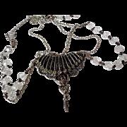 Musi Three Strand Drop Front Crystal Rhinestones Necklace Vintage