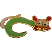 Googly Eyes Enamel Cat Pin Vintage