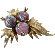 Art Glass Beads with AB Crowns on Brushed Gold Tone Numbered Brooch Vintage