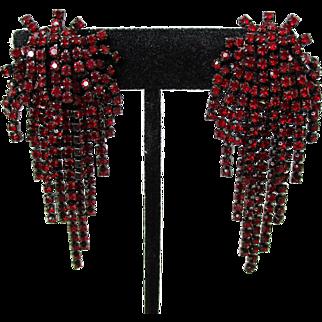 Cascading Waterfall Garnet Red Rhinestone Long Dangle Clip Back Earrings Vintage