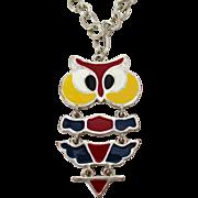 Enameled Articulated Owl Necklace Vintage