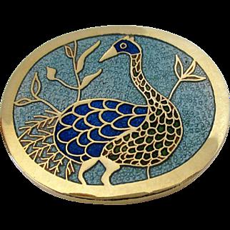 de Passille-Sylvestre Blue Enamel Peacock Brooch Vintage