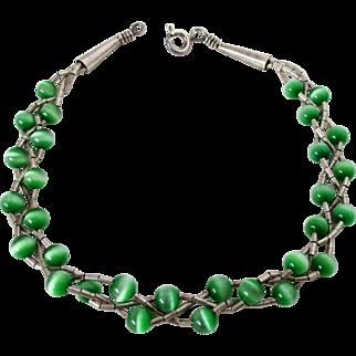 Green Cat's Eye Beads Three Strand Braided Sterling Silver Bracelet Vintage