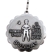Sarah Coventry Sunday's Child Charm or Pendant Vintage