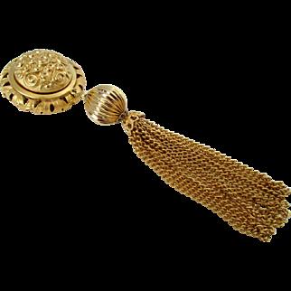 Large Gold Tone Tassel Brooch Vintage