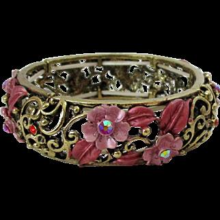 Dusty Rose Enameled Flowers with AB Stones Gold Tone Stretch Bracelet Vintage