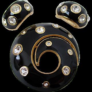 Chr. Dior Black Enamel Rhinestone Brooch Clip Back Earrings Set Vintage