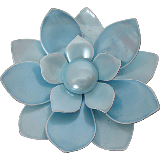 Pretty Pastel Blue Satin Shine Enamel Flower Brooch Vintage