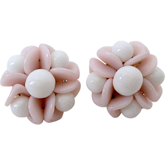 White and Pink Flower Clip Back Earrings Western Germany Vintage
