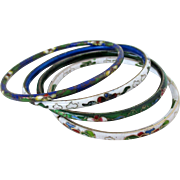 Thin Cloisonne Bangles Mix and Match Vintage