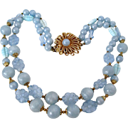 Two Strand Soft Pastel Blue Plastic Beads Gold Tone Clasp Necklace Vintage