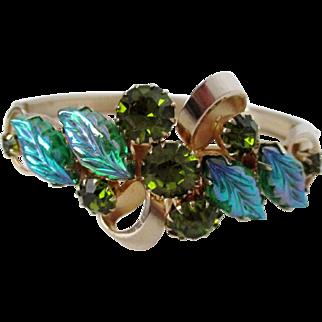 Iridescent Fruit Salad with Olive Green Rhinestones Bracelet Marked Continental Vintage
