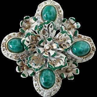 Green Peking Glass Cabs White Gold Green Flower Brooch Vintage
