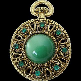 Gerry's Faux Pocket Watch Green Moon Glow Brooch Pendant Vintage