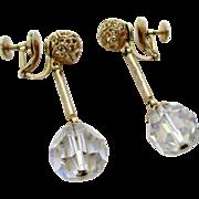 Coro Filigree Ball AB Crystal Dangle Screw Back Earrings Vintage